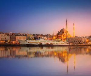 The beauty panorama of Istanbul at a dramatic sunset from Galata Bridge, Istanbul, Turkey